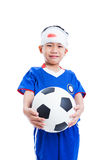 Asian child with trauma of the head holding a football and cry Royalty Free Stock Image