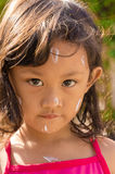 Asian Child Using Sunblock Lotion on Her Face Before Swimming Stock Images
