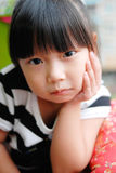 Asian child Watching and Thinking Royalty Free Stock Photography