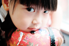 Asian child watching on the Toy horse Stock Photography