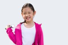 Asian Child Wearing Sweater Holding Dumbbell, Isolated on White Stock Image