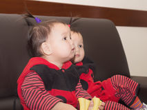 Asian children babies girls together at celebration Christmas Royalty Free Stock Image