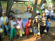 Asian children. Cambodian children selling fruit on the street royalty free stock photo