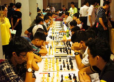 Asian children, chess compete, intelligence sport Royalty Free Stock Photography