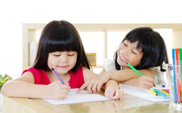 Asian Children Drawing Royalty Free Stock Photography