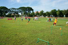 Asian children, football, summer, kid, physical education, socce Stock Image