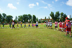 Asian children, football, summer, kid, physical education, socce Stock Photography
