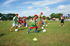 Asian children, football, summer, kid, physical education, socce Stock Photo