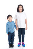 Asian children holding hand together. On white background isolated Royalty Free Stock Photo