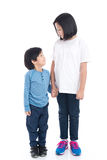 Asian children holding hand together. On white background isolated Stock Photos