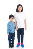 Asian children holding hand together. On white background isolated royalty free stock image