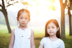 Asian children outdoor portrait. Stock Photo