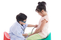 Asian children playing as doctor and patient Stock Photography