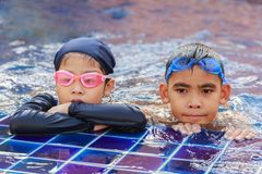 Asian Children in a pool. Stock Photography