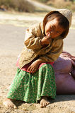 Asian children, poor, dirty Vietnamese kid Royalty Free Stock Photo