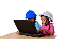 Asian children wearing safety helmet and thinking planer isolated on white background. Kids and education concept. Group of Asian children wearing safety helmet royalty free stock images