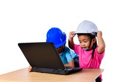Asian children wearing safety helmet and thinking planer isolated on white background. Kids and education concept. Group of Asian children wearing safety helmet royalty free stock photography