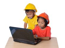 Asian children wearing safety helmet and thinking planer isolated on white background. Kids and education concept. Group of Asian children wearing safety helmet royalty free stock photo