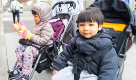 Asian Children wearing winter clothes Royalty Free Stock Photography