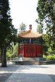 Asian China, ancient building, Zhongshan Park, Xi Li  Pavilion. Asian Chinese, Zhongshan Park, Beijing, Xi Li, pavilion, yellow glazed tile roof, hexagonal Royalty Free Stock Images