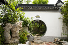 Asian China, antique building, courtyard, circular Stock Photo