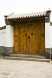 Asian China antique building large wooden doors, g. Asian Chinese Beijing Garden Expo antique buildings, Asian China antique building large wooden doors, gray Royalty Free Stock Photography
