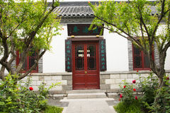 Asian China, antique buildings, courtyards, red do Stock Image