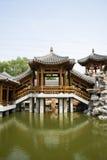 Asian China, antique buildings, pavilions, corridor Stock Photos