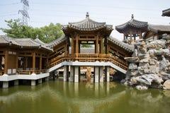 Asian China, antique buildings, pavilions, corridor Royalty Free Stock Photos