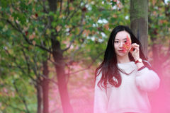 Asian china beautiful woman in autumn park Royalty Free Stock Images