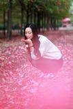 Asian china beautiful woman in autumn park Stock Photography