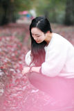 Asian china beautiful woman in autumn park Stock Images