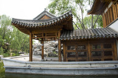 Asian China, Beijing, antique buildings, the marble boat, a pavilion, Stock Image