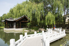 Asian China, Beijing, Chinese antique garden architectural landscape,The stone bridge, Pavilion Royalty Free Stock Photos