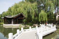Asian China, Beijing, Chinese antique garden architectural landscape,The stone bridge, Pavilion Royalty Free Stock Photos