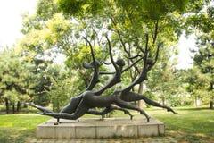 Asian China, Beijing, International Sculpture Park, run Stock Image