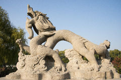 Asian China, Beijing, Longtan Lake Park, stone carving, Dragon Stock Image