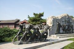 Asian China, Beijing, Lugou Bridge square, sculpture Stock Photo