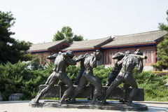 Asian China, Beijing, Lugou Bridge square, sculpture Stock Images