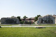 Asian China, Beijing, Lugou Bridge square, sculpture Stock Photos