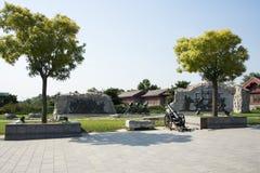 Asian China, Beijing, Lugou Bridge square, sculpture Royalty Free Stock Photography