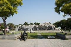 Asian China, Beijing, Lugou Bridge square, sculpture Stock Photography