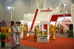 Asian China, Beijing, National Convention Center, import Auto Expo, wearing clothes of the Qing Dynasty Stock Photos