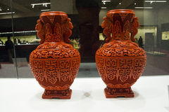 Asian China, Beijing, National Museum, indoor exhibition,Arts and crafts, lacquer carving Royalty Free Stock Image