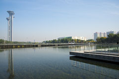 Asian China, Beijing, Olympic Park, lake, the scenery, the watchtower. Stock Photos