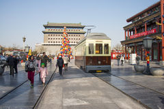 Asian China, Beijing, Qianmen, commercial pedestrian street Royalty Free Stock Images