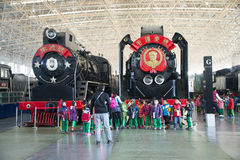 Asian China, Beijing, Railway Museum, exhibition hall, train. Chinese Railway Museum is a national professional railway museum only, locomotive and car showroom Royalty Free Stock Image