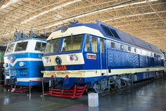 Asian China, Beijing, Railway Museum, exhibition hall, train. Chinese Railway Museum is a national professional railway museum only, locomotive and car showroom Stock Image