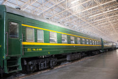 Asian China, Beijing, Railway Museum, exhibition hall, train. Chinese Railway Museum is a national professional railway museum only, locomotive and car showroom Royalty Free Stock Photos