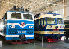 Asian China, Beijing, Railway Museum, exhibition hall, train. Chinese Railway Museum is a national professional railway museum only, locomotive and car showroom Stock Photos